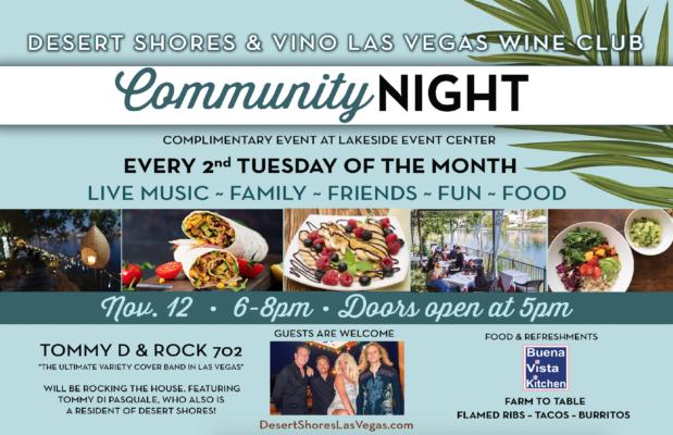 Vino Las Vegas Wine Club & Desert Shores Flyer for the November 12th Community Night Event